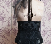 Black damask corset with flossing detail